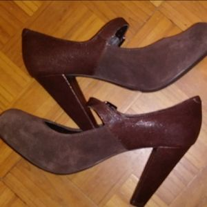SALE! 3/$10 Gianni Bini brown heels w/ belt strap